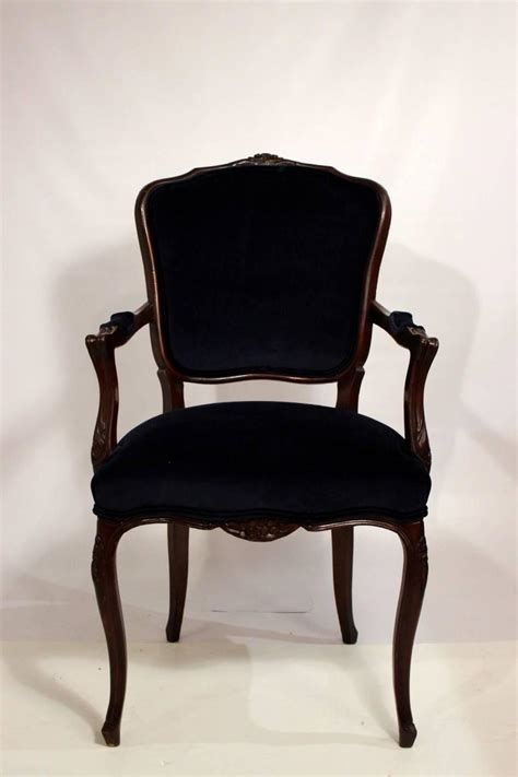 Damask Dining Chair Six Dining Room Chairs With Navy Velvet And Damask Fabric For Sale At 1stdibs