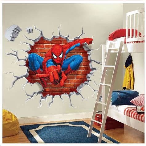 spiderman bedroom stickers super hero spider man wall sticker decals kids baby