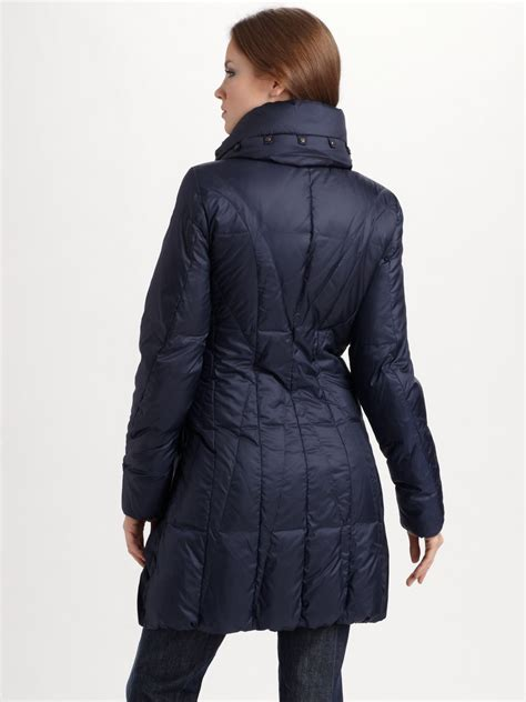 Pillow Collar Coats by Creenstone Pillow Collar Puffer Coat In Blue Lyst