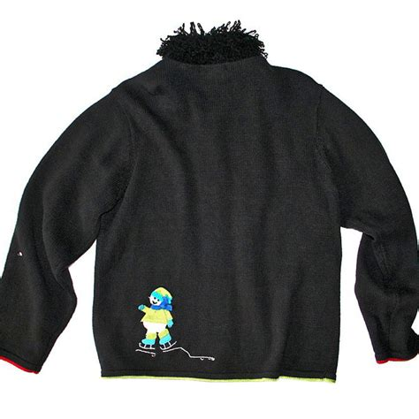 Sweater Skaters shaggy collar skating snowmen sweater the sweater shop