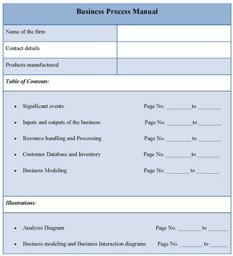 company manual template manual template for business process format of business