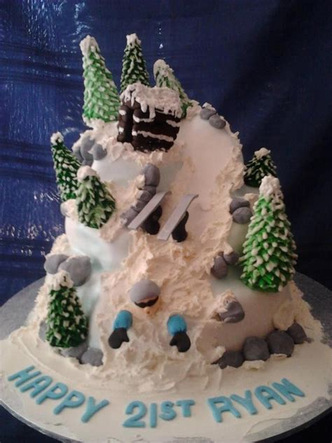 ryans st skiing cake   fb page kellys cakes  flair cakes pinterest skiing