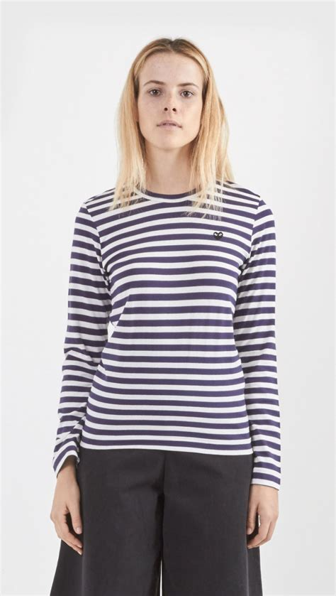 Blouse Jolins Stripe Blue Black play comme des gar 231 ons stripe sleeve shirt in blue lyst