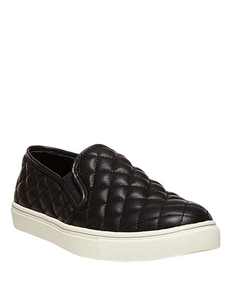 Steve Madden Quilted Sneakers For by Steve Madden Ecentrcq Quilted Faux Leather Slip Ons In Black Lyst