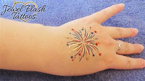 flash tattoo apply 4th of july fireworks temporary tattoo application by