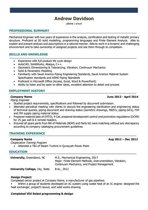mechanical engineering resume templates hvac engineer accurate
