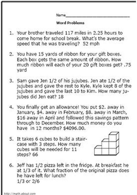 realistic math problems help 6th graders solve real