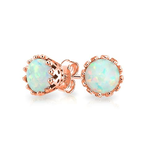 white opal earrings 925 sterling silver round crown white opal stud earrings