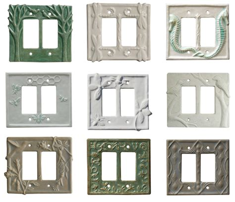 hand sculpted ceramic art light switch plate