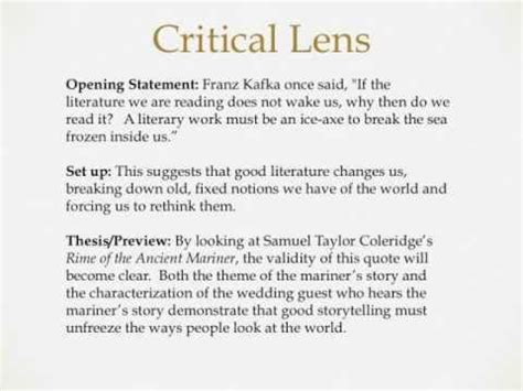 Exle Critical Lens Essay by Critical Lens Essay Writing