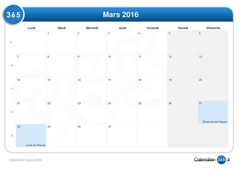 I Calendrier Mars 2016 Calendrier Mars 2016
