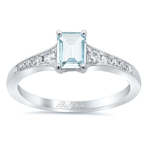 Aquamarine Engagement Rings by Tapered Engagement Ring With Emerald Cut Aquamarine