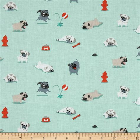 Tag Wholesale Home Decor by Michael Miller Pugs Amp Kisses Seafoam Discount Designer