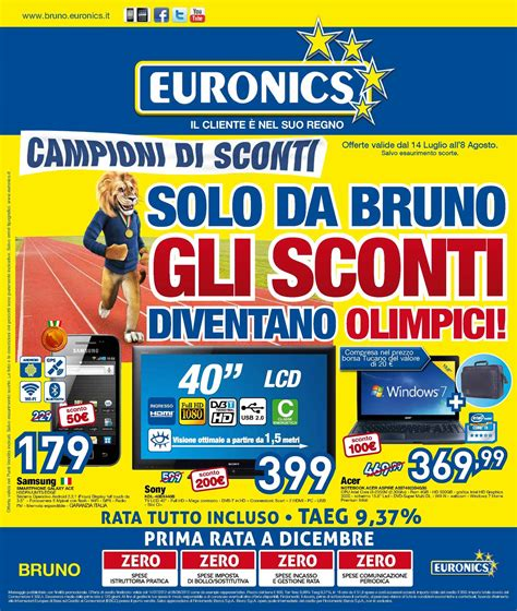 cornice digitale euronics calam 233 o volantino euronics gruppo bruno dal 14 7 al 8 08
