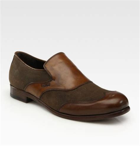 fendi loafers mens fendi loafers in brown for lyst