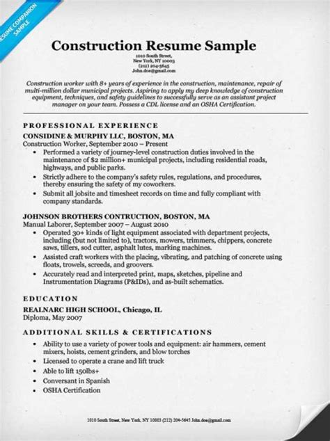 construction resume exles and sles construction labor resume sle resume companion