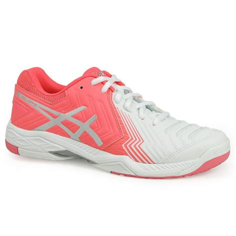 asics gel 6 womens tennis shoe white pink e755y 0120