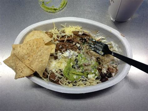 Chipotle Mexican Grill Burrito by Burrito Bowl With Side Of Chips And Guacamole Picture Of