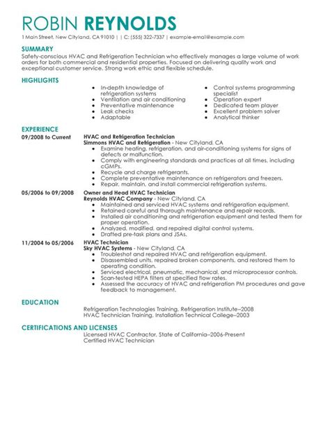 sle resume for air conditioning technician unforgettable hvac and refrigeration resume exles to