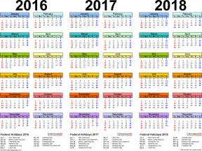 2016 2017 2018 calendar 4 three year printable word calendars