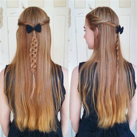 easy hairstyles for long straight hair down easy half up half down hairstyles for long straight hair