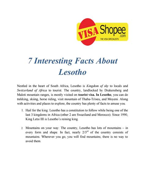 7 Awesome Facts by 7 Interesting Facts About Lesotho By Harshtyagi Issuu
