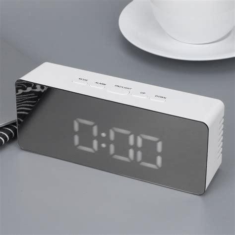 design jam meja jam meja led digital mirror clock with temperature ts