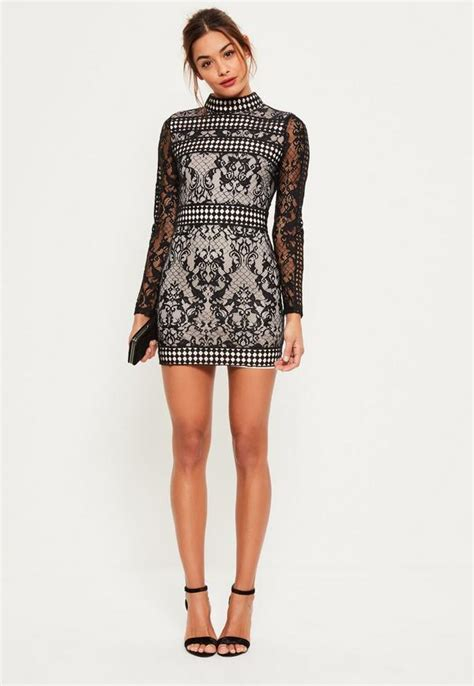 Sleeve High Neck Dress black lace sleeve high neck bodycon dress missguided