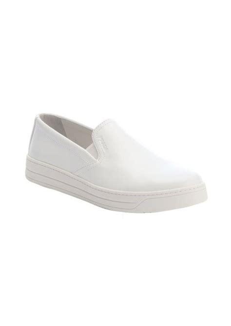 prada prada sport white leather slip on platform sneakers