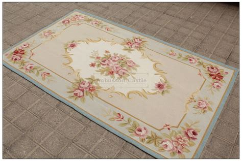 Shabby Chic Area Rugs 3x5 Light Blue Aubusson Area Rug Shabby Pink Chic Roses Wool Woven Ebay