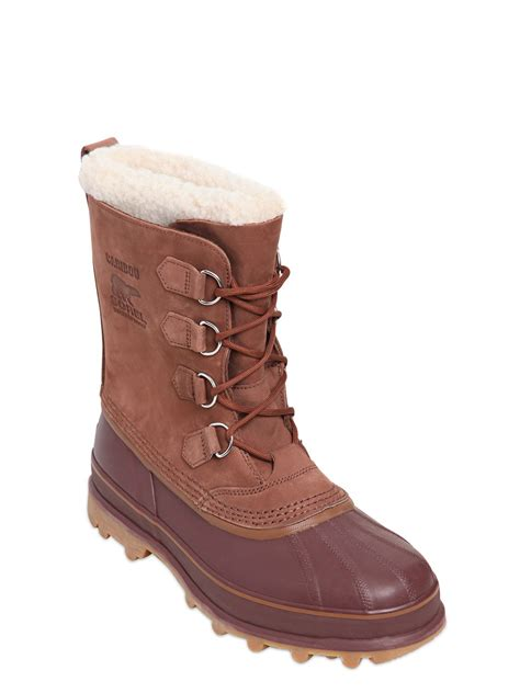 sorel caribou waterproof nubuck winter boots in brown for
