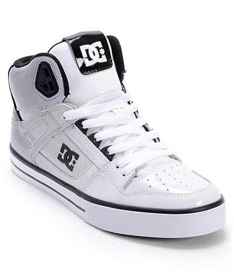 Sket Dc Black White dc spartan hi white black patent leather skate shoes