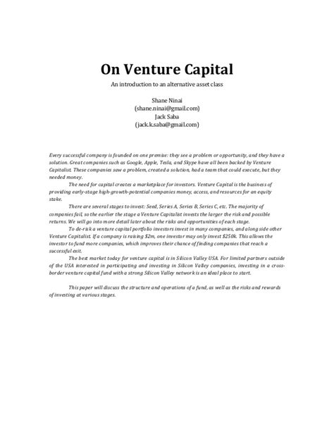 Introduction Letter To Venture Capitalist On Venture Capital An Introduction To An Alternative Asset Class