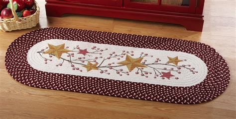country style kitchen rugs country primitive and berries braided runner floor runner rug mat harvest ebay