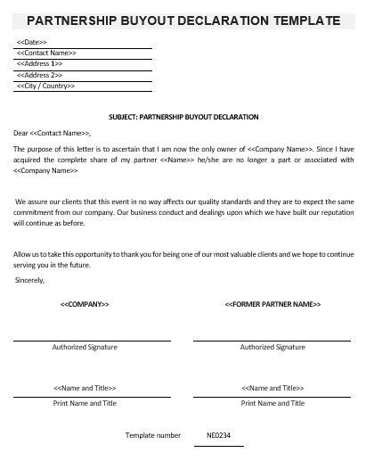 partnership buyout agreement template ne0234 partnership buyout declaration template