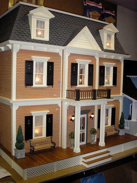 federal style dollhouse  brick  black shutters