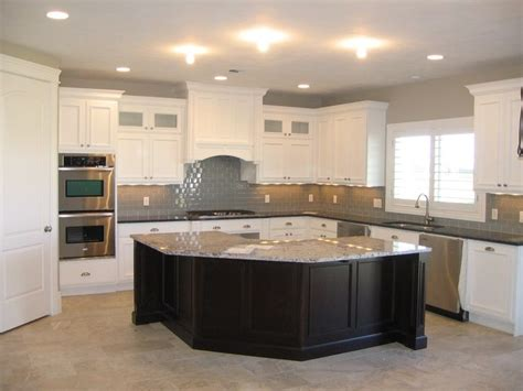 white kitchen cabinets with dark island grey cabinets white subway tile grey subway tile white