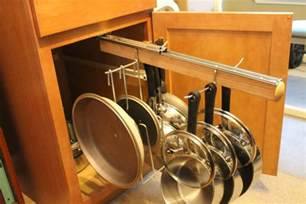 pull out cabinet hanging pot and pan lid rack