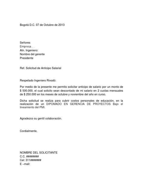 formato modelo ejemplo solicitud de adelanto de scribd carta de anticipo salarial