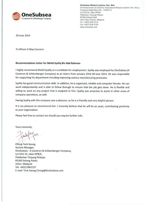 Recommendation Letter For Student Ojt On Recommendation Letter