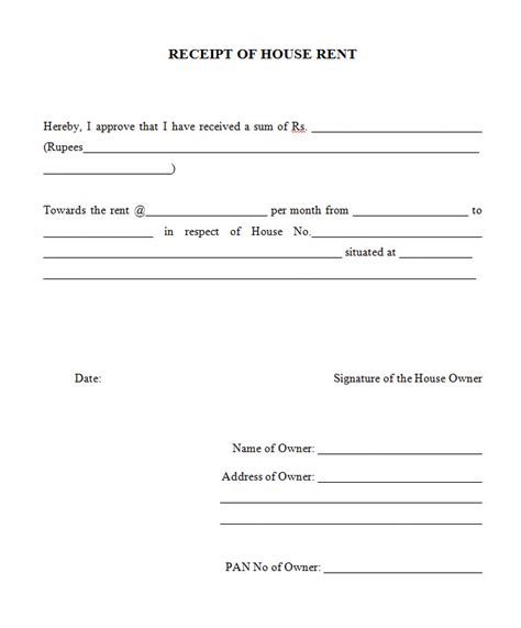 hra receipt format doc rent receipts download rent lease tenancy agreement