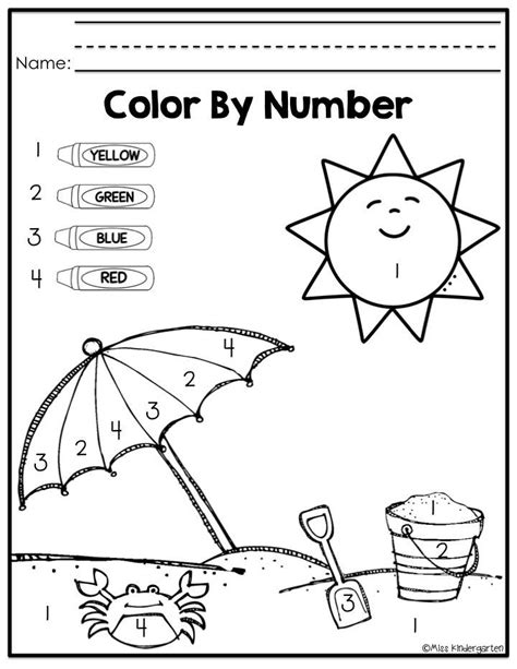 color by number for kindergarten coloring pages color by number
