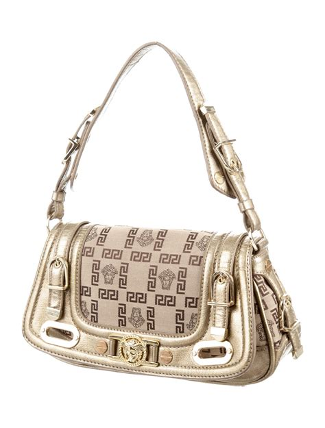 versace monogram leather handle bag handbags