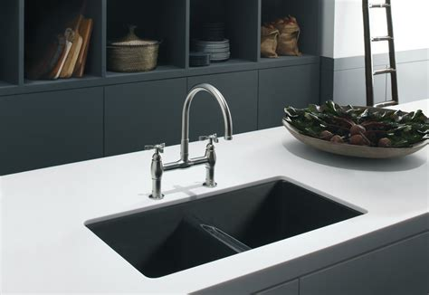 Undercounter Sink White Kitchen Black Countertop With