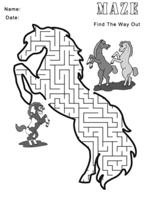 printable horse games printable horse maze games