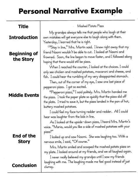 personal narrative essay sle lessons learned