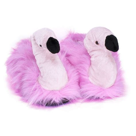 silly slippers flamingo plush slippers pink brooch funslippers