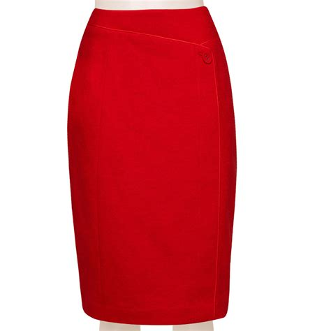 tailored linen blend pencil skirt with front piping
