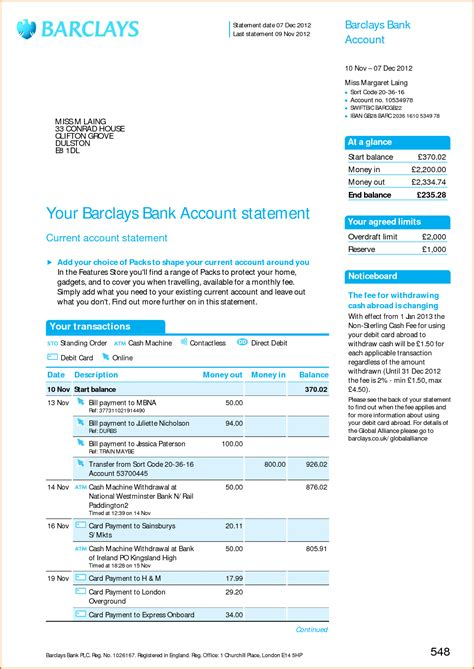 fake barclays bank statement template business template