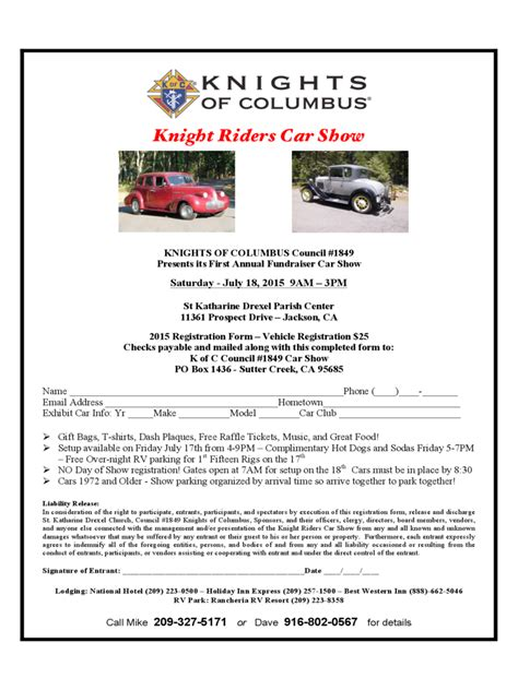 knights of columbus membership card template car show registration form 2 free templates in pdf word